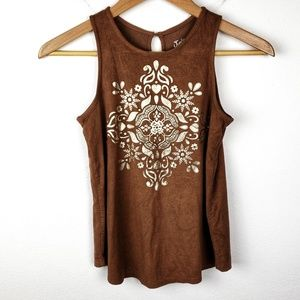 Justice   Brown Faux Suede Boho Tank Top Blouse 10